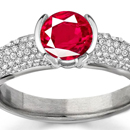 Shop for Ruby Rings: A dazzling Asscher is the centerstone of an Edwardian-style Neil Lane ring