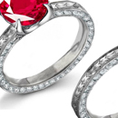Buy Ruby Rings Online: The grand cushion of Martin Katz' micro-pave-set diamond ring rests in a micro-pave diamond prongs