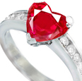 Shop for Ruby Rings: A three-stone diamond ring