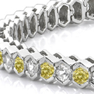 green gold, white diamonds set in white gold, canary diamonds set in yellow gold, platinum and goldsmithing