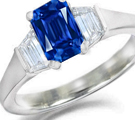 VINTAGE ESTATE 14 K WHITE GOLD SAPPHIRE & DIAMOND RING, over 2 carats, SZ 7 1/2