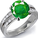 Ural Emerald Ring with Diamonds