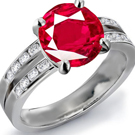 Platinum 950 Pave Setting Ruby Diamond Ring