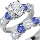 2.45ct. Color Sapphire Ring in 18K Solid WG With Diamonds Size 7.25