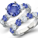 2.40ct Vintage Round Blue Sapphire Gemstone Ring with Diamonds G/H-VS ON-SALE