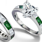 Diamond and Emerald Engagement Ring in Ring Size 5