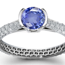Brand New Blue Sapphire Ring with Diamond Accents - Costume Jewelry Ring (S: 7)