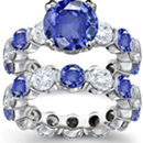 Men's Lion Ring with Sapphire in Silver with genuine diamond in mouth