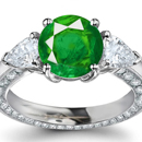1.11ctw Synthetic Emerald and Diamond Cocktail Ring - 14k Yellow & White Gold
