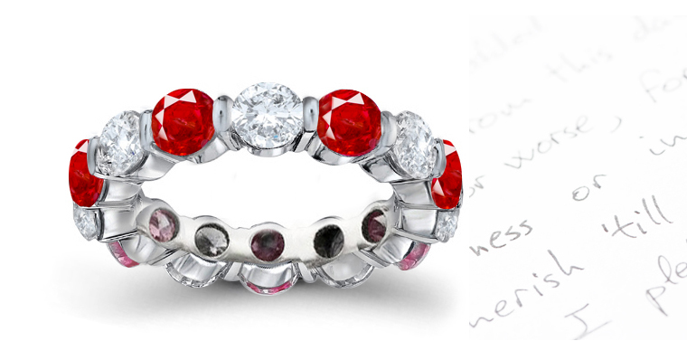 ruby and diamond eternity ring in prong setting