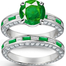 Yellowish Hue And Medium Tone Madagascar Emerald Ring with Diamonds