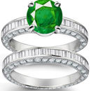 Emerald 12x16mm Solid 14Kt White Gold Diamond Green Wedding Amethyst Ring CT1211