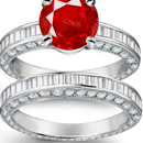 Ruby Rosary Ring in 14k White Gold
