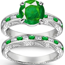 14K YELLOW GOLD GENUINE EMERALD AND DIAMOND RING
