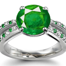 Solid 18K Rose Gold Oval Cut Emerald Natural Diamond Engagement Ring