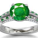 COLOMBIAN EMERALD DIAMOND RING 18 KARAT YELLOW GOLD ESTATE ROUND CUT NATURAL