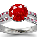 Orangish Red Hue and Medium Tone Mogok, Myanmar Ruby Ring with Diamonds