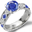 DIAMOND AND 1.14 CT CENTER STONE SAPPHIRE RING IN 18 K WHITE GOLD