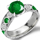 Edwardian 14k Rose Gold .36ctw Gem Emerald & Old Cut F-VS2 Diamond Ring 5.3g