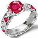 Ruby Diamond Ring with 4.75 Carats Pigeon Red Rubies