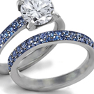 Sparkling 4.30ct Deep Royal Sapphire Ring with Diamonds - 18K White Gold