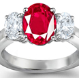 Oval Ruby & Diamond Ring Sensous & Emotional