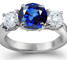 Diamond with Sapphire Engagement Ring
