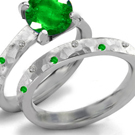 3 Stone Emerald Ring with Diamonds
