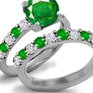 Art Noveau Emerald Ring with Diamonds
