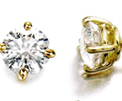 14K Yellow Gold Studs with Round Diamonds