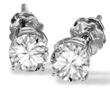 14K White Gold Studs with Round Diamonds