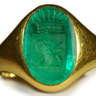 Ancient Rich Green Color & Vibrant Egypt Emerald Red Sea in Gold Signet Ring Depicting A Ram - The Most Daring & Reckless Soldiers