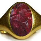 Ancient Rich Red Color & Vibrant Ruby Burma in Gold Signet Ring Depicting A Roman King
