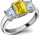 Emerald-cut Yellow Sapphire Ring with Diamond Accents in 14k White Gold (6x4 mm)